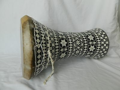 "Egyptian Mother of Pearl Wooden Drum-Tabla-Doumbeck 8.5"" Head and 17"" High Sale!"