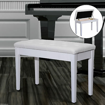 "HOMCOM 30"" White Piano Bench Double Duet Keyboard Padded Storage Seat"