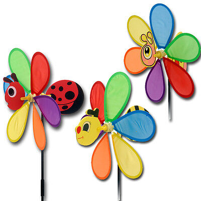 Windmill Garden Spinner Outdoor Rainbow Bright Coloured Flower Wind Mobile Fence