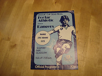 Forfar Athletic v Rangers 1978 Scottish League Cup Semi Final