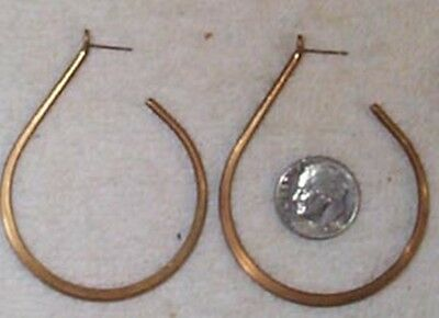 Vintage 1950's Big Hoop Earrings Findings    8 Pcs.  Aged Brass