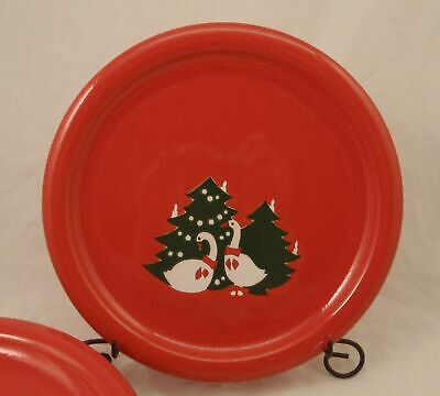 """Waechtersbach Germany RED CHRISTMAS GEESE Lot of 6 Salad Plates 7 3/4"""" in Goose"""