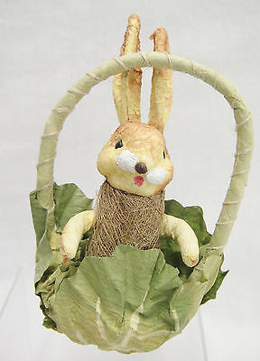 Paper Mache Bunny Rabbit in Cabbage Leaf Basket Easter Decoration