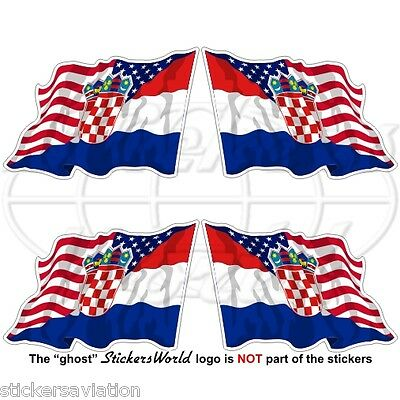 USA United States America-CROATIA American-Croatian Flying Flag 50mm Stickers x4