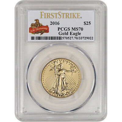 2016 American Gold Eagle (1/2 oz) $25 - PCGS MS70 First Strike Anniversary Label