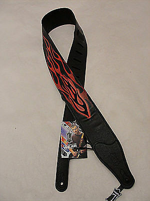 """Levy's Mg26Ep-001 2 1/2"""" Garment Leather Guitar Strap Printed Embroidere Flames"""