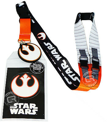 Star Wars Rebel Pilot Costume Lanyard w/ ID Badge Holder & Charm Official New