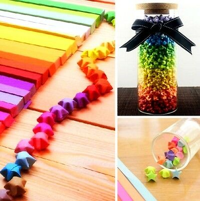 FD3880 Funny Origami Lucky Star Paper Strips Folding Paper Ribbons Colors 80pcs