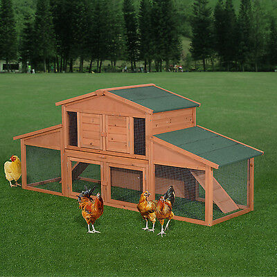 "PawHut Deluxe 91"" Wood Chicken Coop Cage Pet Poultry House Habitat w/ Run Tray"