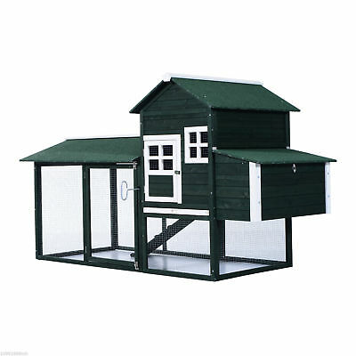 "PawHut 84"" Large Wooden Chicken Coop Pet Cage Hen House & Backyard ladder Green"
