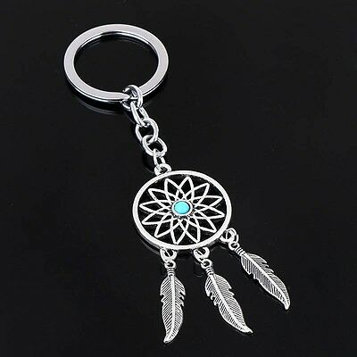 Silver Tone Metal Feather Tassels Key Chain Ring Dream Catcher Keyring Keychain