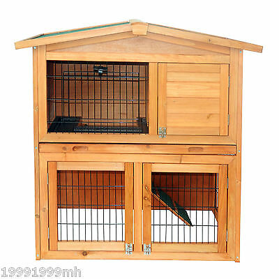 "PawHut 40"" Rabbit Hutch Wood Cage Chicken Coop House Small Animal Habitat"