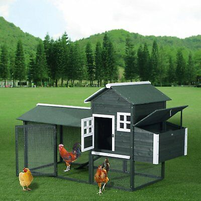 "Pawhut 84"" Wooden Chicken Coop Pet Cage Hen Hutch W/ Nesting Box Deluxe Green"