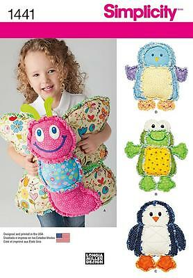 SIMPLICITY SEWING PATTERN CHILDRENS Rag Quilted Animal Pillows FROG PENGUIN 1441