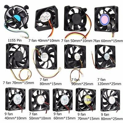 3/4 Pin Multi Size Cooler Case Fan Heatsink Cooling Radiator For Computer PC CPU