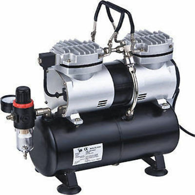AS196 Airbrush Twin Cylinder Compressor Air Brush Model Painting etc