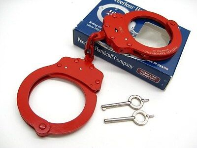PEERLESS Red Finish 750 Chain Link POLICE HANDCUFFS + 2 Keys! 4712R