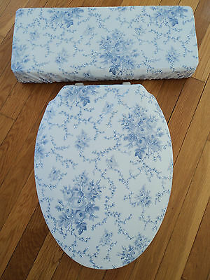 Laura Ashley Sophia fabric Shabby Blue Rose Chic Bathroom Toilet Seat Cover Set