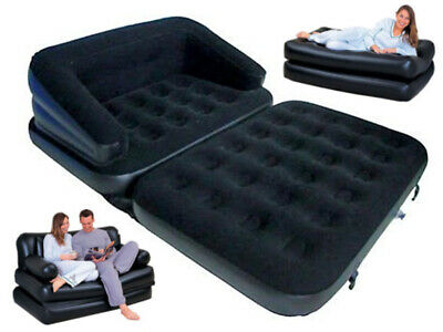 5 In 1 Inflatable Double Flocked Sofa Couch Bed Mattress Lounger Airbed Chair