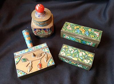 4 Antique Chinese Canton Enamel on Brass Boxes Cigarette Stamp Jeweled