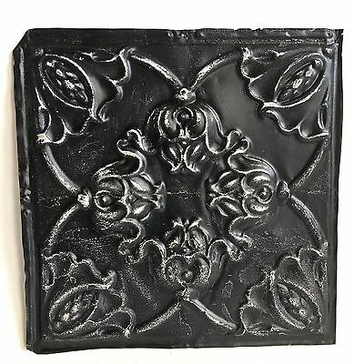 """12"""" x 12"""" Antique 1890's Tin Ceiling Tile Black A31 *SEE OUR SALVAGE VIDEOS"""