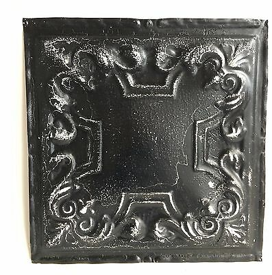 "12"" x 12"" Antique 1890's Tin Ceiling Tile Black A36 *SEE OUR SALVAGE VIDEOS"
