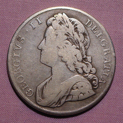 1732 KING GEORGE II SILVER CROWN - Roses and Plumes