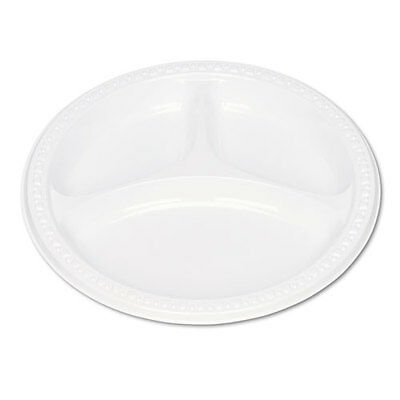 "Tablemate Plastic Dinnerware Compartment Plates 9"""" dia White 125/Pack"