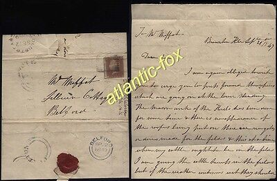 1849 1d Red COLDSTREAM, Berwickshire letter from Branxton Hill to BELFORD
