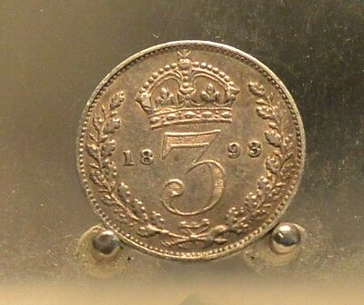 1893 Open 3 Great Britain Silver 3 Pence, Key Date Old World Silver Coin