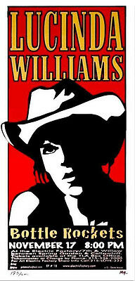 Lucinda Williams Poster Electric Factory Signed Silkscreen Print Mafia 1999