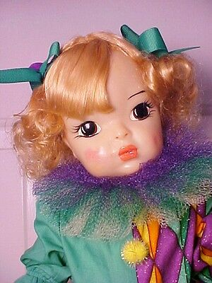 "Vintage 1950s Platinum Blond 16"" TERRI LEE DOLL in Clown Outfit"