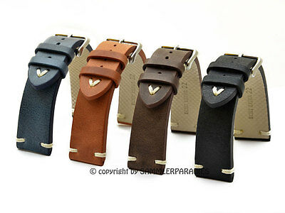 LEDERBAND 18, 20, 22, 24mm BAND Pilotuhren Retro Vintage Look UHRBAND STRAP BS