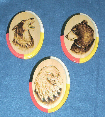 Authentic Native American Artwork Woodburning  3 pc set Wolf Bear & Eagle