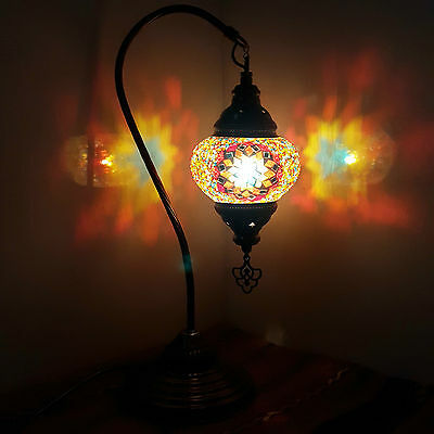 Turkish Moroccan Colourful Mosaic Lamp Light Tiffany Glass Desk Table UK SELLER
