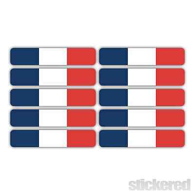 10 x FRENCH FLAG FRANCE PRINTED STICKERS FOR CAR BIKE HELMET LAPTOP 50mm x 10mm