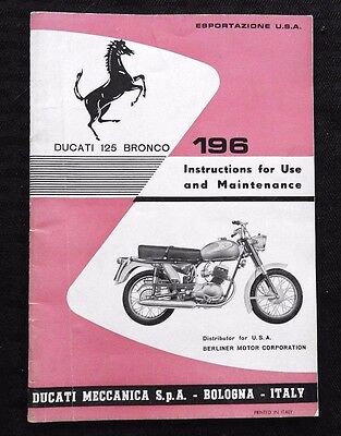 Genuine 1959-63 Ducati 125 Bronco 196 Motorcycle Owners Manual Nice