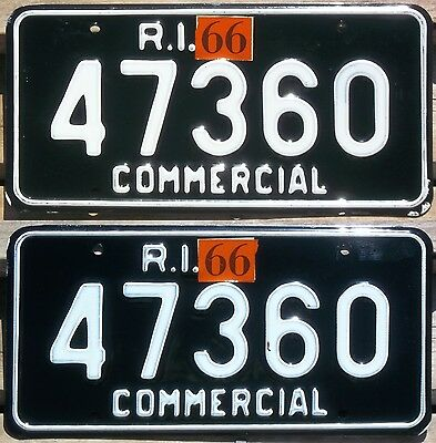 Rhode Island 1965 - 1966 COMMERCIAL TRUCK license plate pair!
