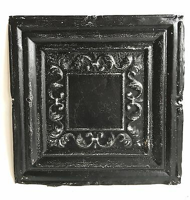 "12"" x 12"" Antique 1890's Tin Ceiling Tile Black A44"