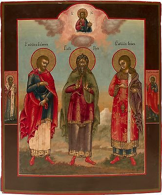 Old Antique Russian Icon of Saint Simon, Saint Gutiy, and Saint Aviv, 19th c