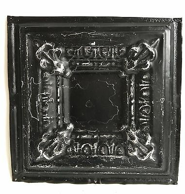 "12"" x 12"" Antique 1890's Tin Ceiling Tile Black A45"