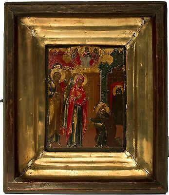 Old Antique Russian Icon of Appearance of Mother of God to Sergius Radonezhski