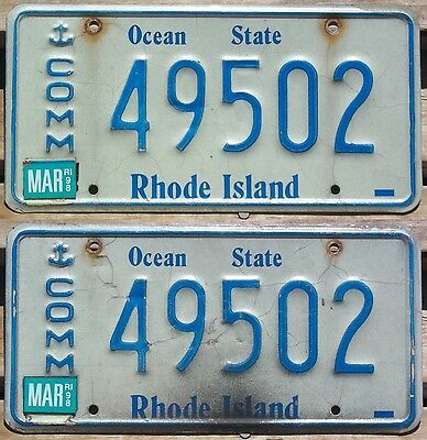 Rhode Island 1986 - 1998 early graphic COMMERCIAL TRUCK license plate pair!