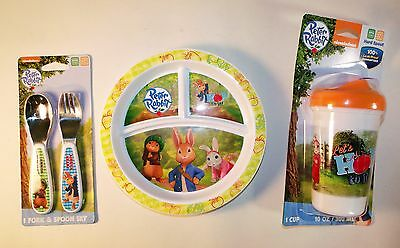 Peter Rabbit 4 Piece Set: Spoon, Fork, Divided Plate and Spill Proof Cup