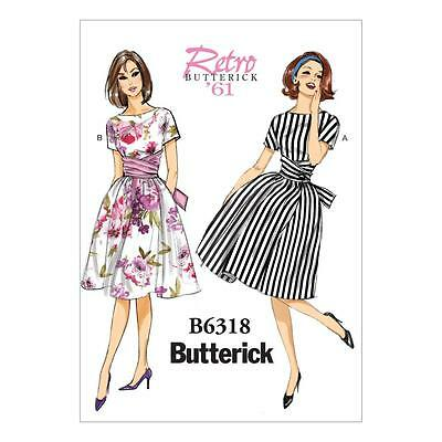 Butterick Sewing Pattern Misses' Vintage Retro 1961 Dress Size 6 - 22 B 6318