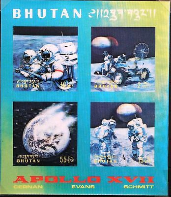 BHUTAN 1973 Block 58 S/S 151f Raumflug Apollo 17 Raumfahrt Space flight 3D MNH