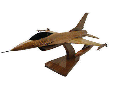 USAF Air Force F-16 F-16C Falcon Fighter Jet Mahogany Wood Wooden Desk Model New
