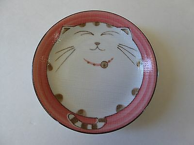 """2 PCS. Japanese 4.75""""D Porcelain Dishes Plates Smiling Cat Pink/ Made in Japan"""