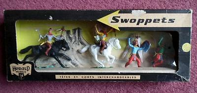 HERALD MODELS INDIAN CHIEF SET x 4 BOXED Britain Swoppets Cowboys western