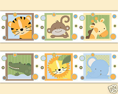 Safari Animal Wallpaper Border Wall Art Decals Baby Boy Jungle Nursery Stickers